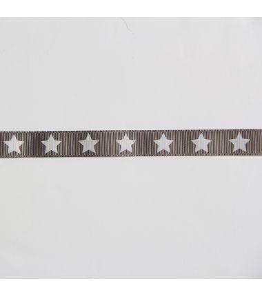 Ruban gros grain étoile gris foncé