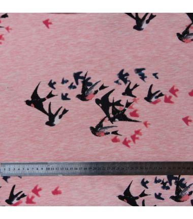 Jersey nuée d'oiseaux rose