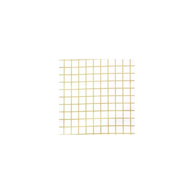 Toile enduite blanc petits carreaux or