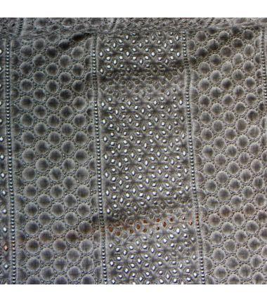 Coton ajouré kaki/gris