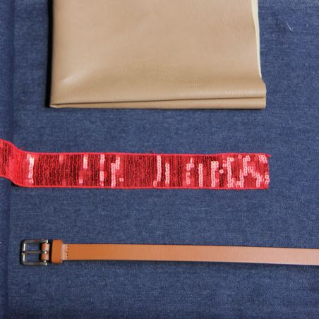 Kit sac paillettes jeans rouge