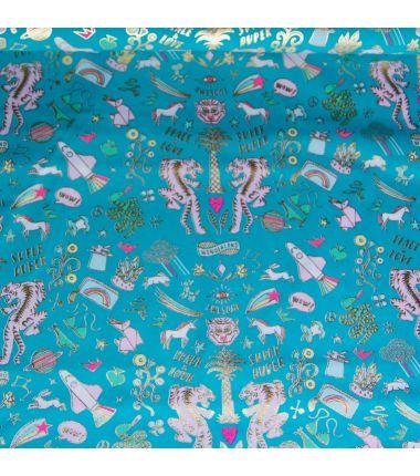 Rico toile tigres glitter turquoise