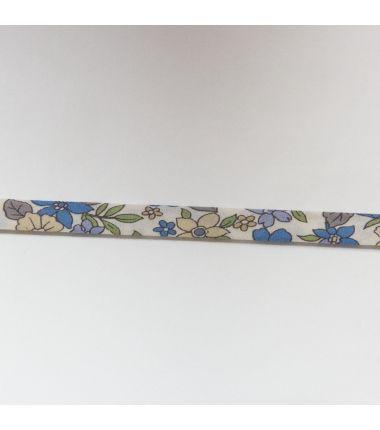 Biaisband bloemen blauw