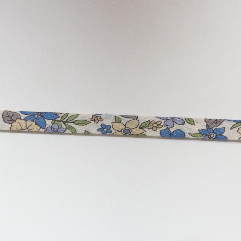 Biais fleuri bleu