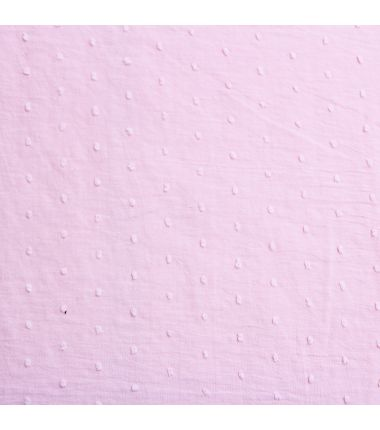 Coton plumetis rose tendre