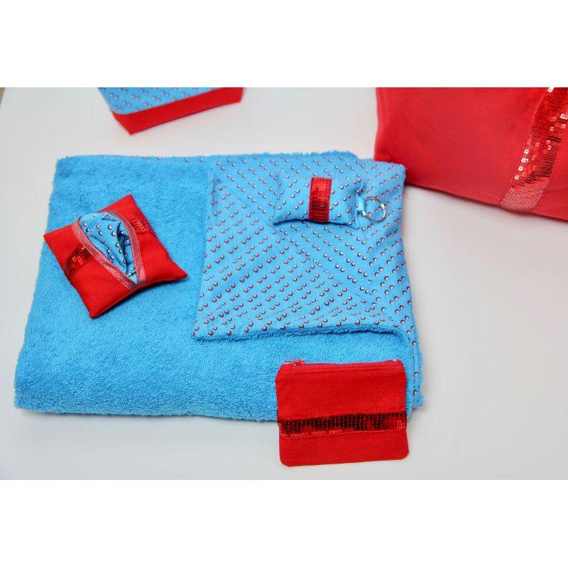 Kit essuie de plage bleu piscine