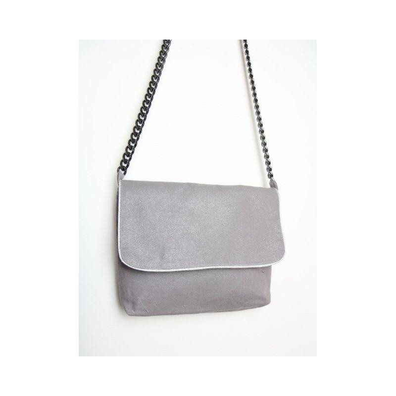 Kit petit sac bandoulière lin gris brillant