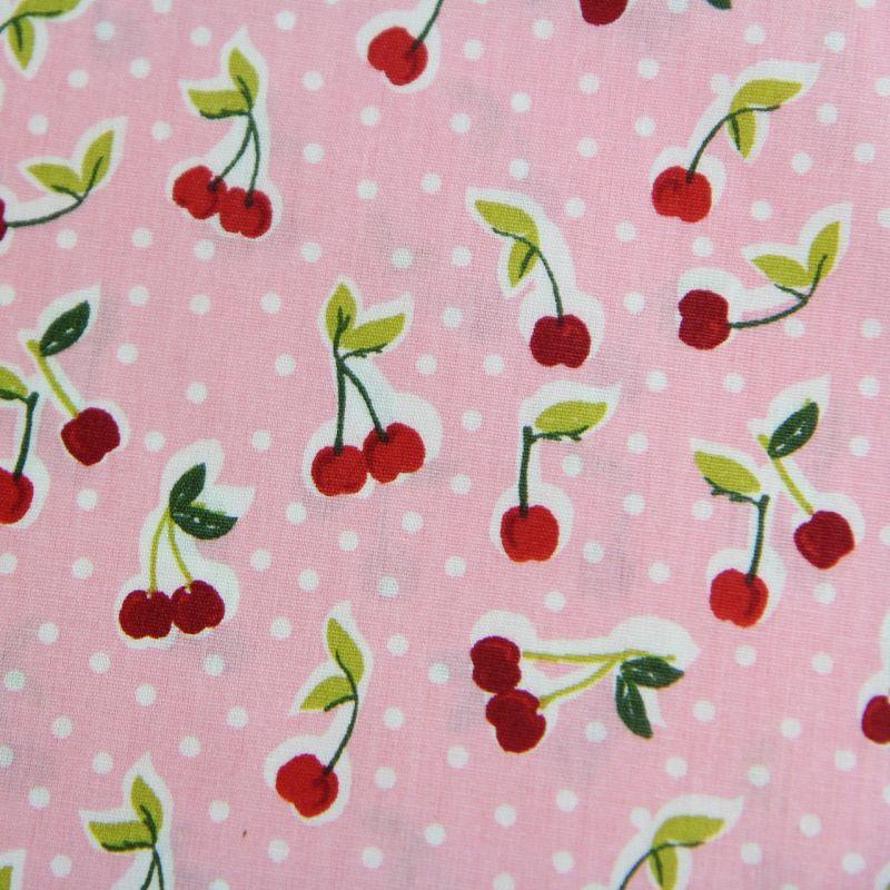 Coton cerises roses