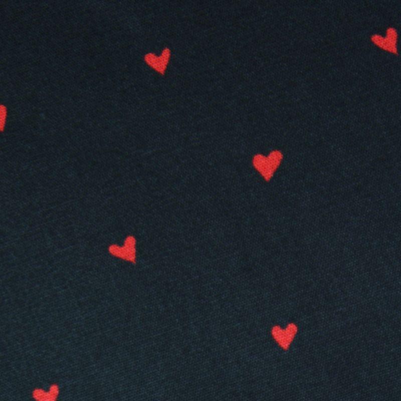 Coton noir petits coeurs