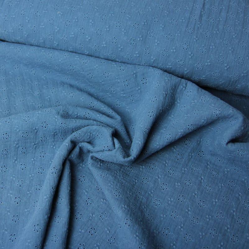 Double gaze bleu jeans ajourée fleurs