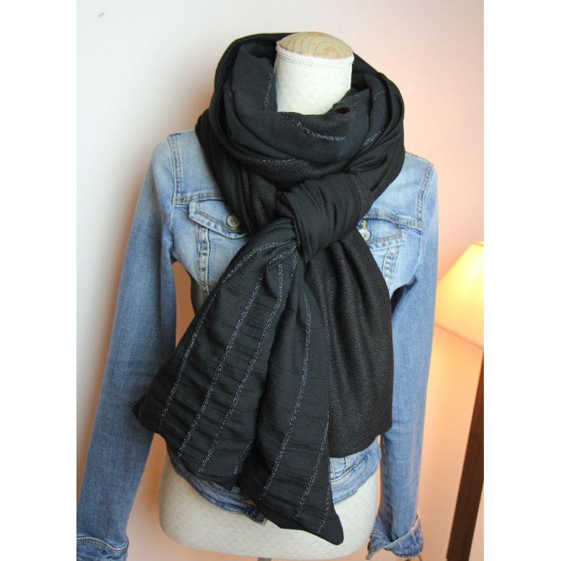 Kit foulard long noir, noir et noir