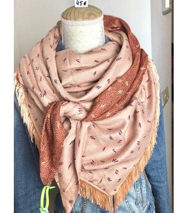 Foulard cousu rose et...