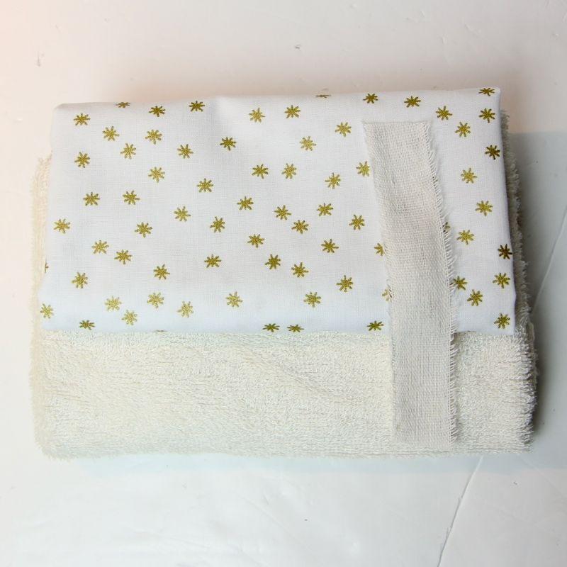 Kit lingettes crème/blanc étoiles or