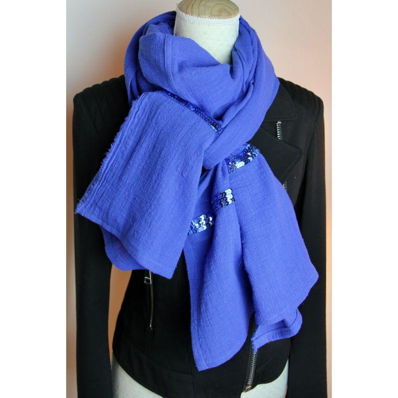 Kit foulard long uni bleu roi