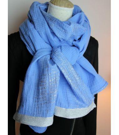 Kit foulard long bleu comme...