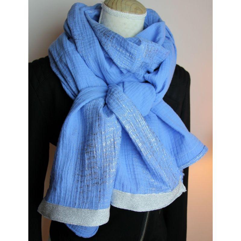 Kit foulard long bleu comme tes yeux
