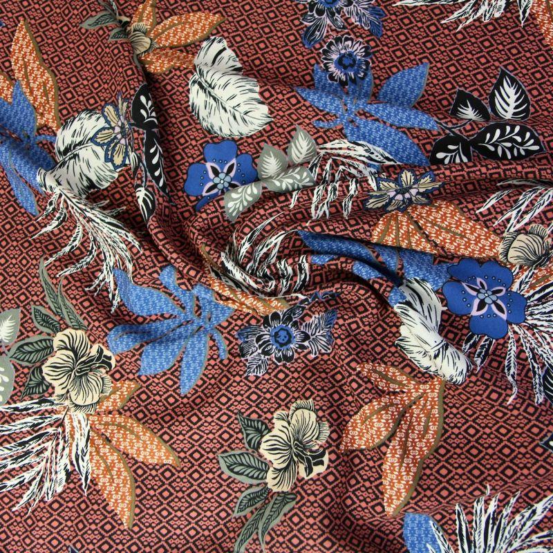 Viscose feuilles bronze et bleu