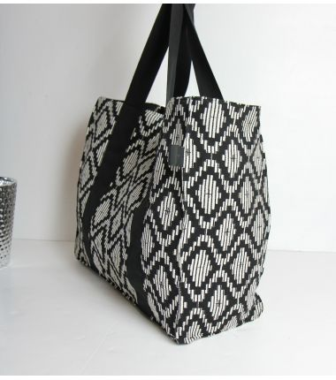 Kit sac cabas jacquard noir et blanc