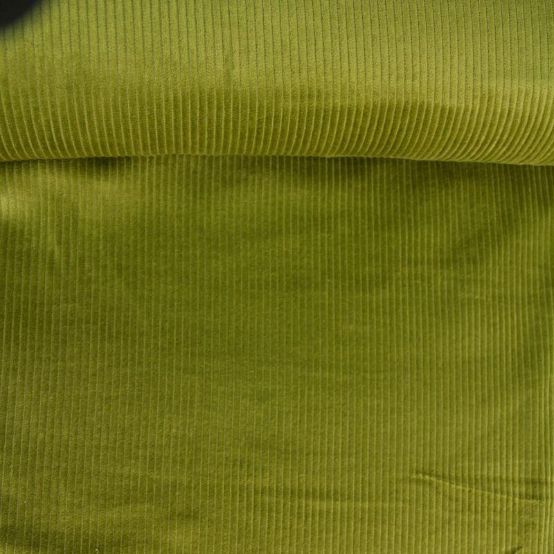 Velours côtelé larges côtes vert pickles
