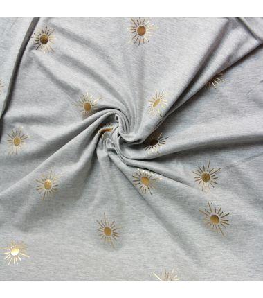 Jersey soleil d'or gris clair chiné