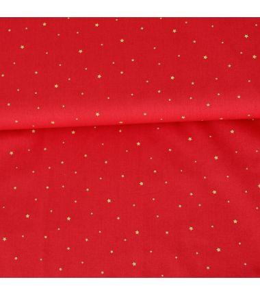 Coton étoiles rouge et or