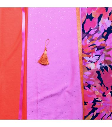 Kit foulard triangle Barbara orange