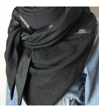 Kit foulard triangle noir cachemire brillant