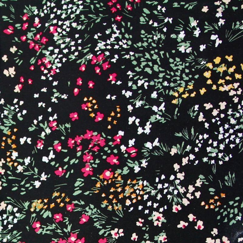 Viscose petites fleurs noir