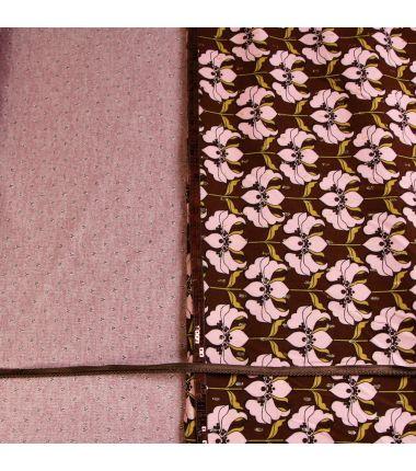 Kit foulard triangle bloom rose et brun