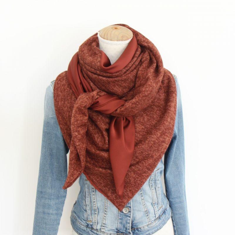 Kit foulard triangle bi-matière rouille
