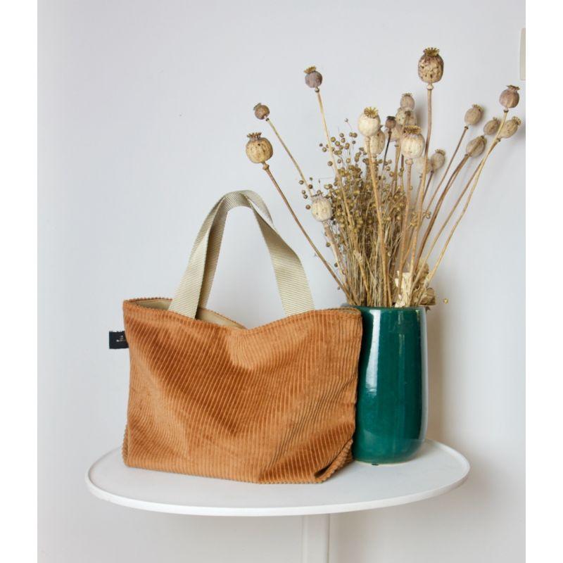 Kit sac velours cognac